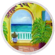 Vista Del Agua Round Beach Towel