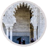 Vistors At The Mausoleum  Round Beach Towel