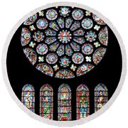 Vitraux - Cathedrale De Chartres - France Round Beach Towel