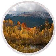 Vivid Autumn Aspen And Mountain Landscape Round Beach Towel by Cascade Colors