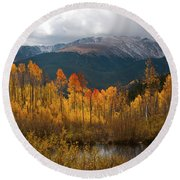Vivid Autumn Aspen And Mountain Landscape Round Beach Towel