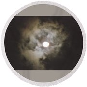 Vivid Full Moon Round Beach Towel