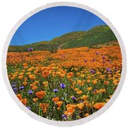 Vivid Memories Of The Walker Canyon Superbloom Round Beach Towel