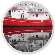 Vivid Rich Red Boat Round Beach Towel