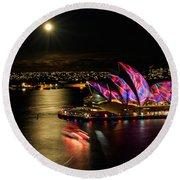 Vivid Sydney Under Full Moon Round Beach Towel