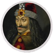 Vlad The Impaler Portrait  Round Beach Towel