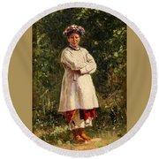 Vladimir Yegorovich Makovsky Russian 1846  1920   Ukrainian Girl, 1898 Round Beach Towel