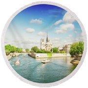 Notre Dame And River Seine Round Beach Towel