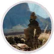 Volcanic Desert Composition Round Beach Towel