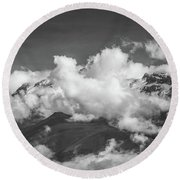 Volcano Chachani In Arequipa Peru Covered By Clouds Round Beach Towel