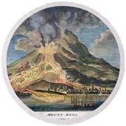 Volcano: Mt. Etna Round Beach Towel