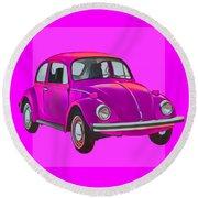 Volkswagen Beetle So Pinks Round Beach Towel
