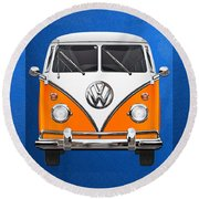 Volkswagen Type - Orange And White Volkswagen T 1 Samba Bus Over Blue Canvas Round Beach Towel
