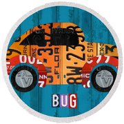Volkswagen Vw Bug Vintage Classic Retro Vehicle Recycled License Plate Art Usa Round Beach Towel