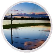 Volleyball Sunset Round Beach Towel