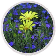 Voltage Yellow And Electric Blue 06 Round Beach Towel