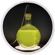 Volumetric Flask With Green Liquid Chemical Experiment Round Beach Towel