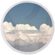 Voluminous Clouds Round Beach Towel