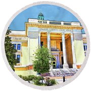 Volusia County Court House Yellow Round Beach Towel