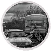 Volvo And Trailer Round Beach Towel