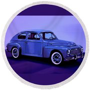Volvo Pv 544 1958 Mixed Media Round Beach Towel