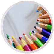 Vortex Of Colored Pencils Round Beach Towel