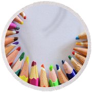 Vortex Of Colored Pencils On The Sheet Of Paper Round Beach Towel