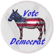 Vote Democrat Round Beach Towel