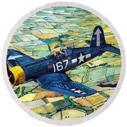 Quiet Sky - Vought F4u-1d Corsair Round Beach Towel