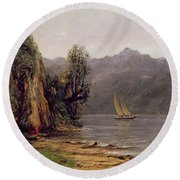Vue Du Lac Leman Round Beach Towel by Gustave Courbet