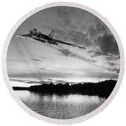 Vulcan Low Over A Sunset Lake Sunset Lake Bw Round Beach Towel
