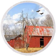 Vultures Over Barn Round Beach Towel