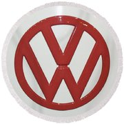 Vw Emblem In Red Round Beach Towel