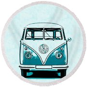 Vw Van Graphic Artwork Round Beach Towel