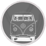Vw Van Graphic Artwork Tee White Round Beach Towel