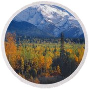 102238-v-w End Of Seven Sisters Mountain  Round Beach Towel