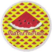 W Is For Watermelon Round Beach Towel