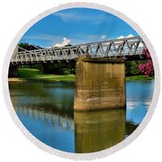 Waco Suspension Bridge 2 Round Beach Towel