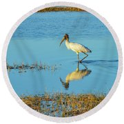 Wadding Wood Stork And Reflection Round Beach Towel