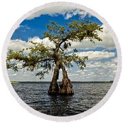 Wading Across The Lake Round Beach Towel