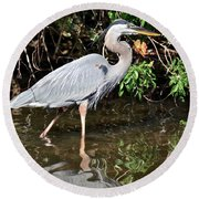 Wading In The Water Round Beach Towel
