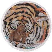 Wading Tiger Round Beach Towel