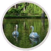 Wagner Vinyard Estate Swans Finger Lakes Lodi Ny Round Beach Towel