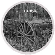 Wagon In The Woods Round Beach Towel