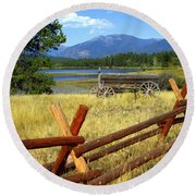 Wagon West Round Beach Towel by Marty Koch