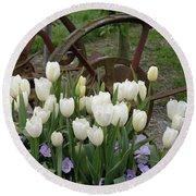 Wagon Wheel Tulips Round Beach Towel