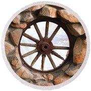 Wagon Wheel Window Round Beach Towel