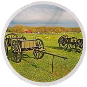 Wagons Used In The Civil War In Gettysburg National Military Park-pennsylvania Round Beach Towel