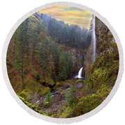 Wahclella Falls In Columbia River Gorge Round Beach Towel