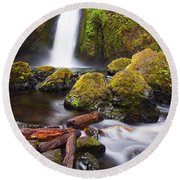 Wahclella Round Beach Towel by Mike  Dawson